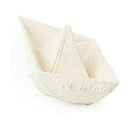 Oli & Carol Bath toy boat white natural rubber 12x7cm