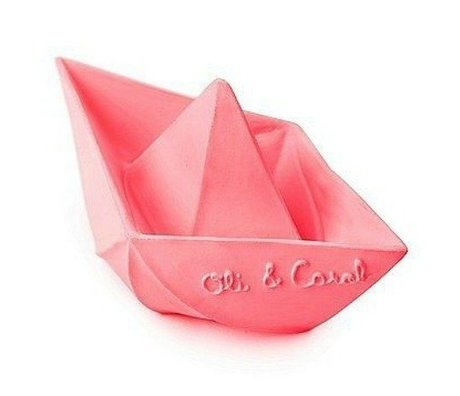 Oli & Carol Bath toy boat pink natural rubber 12x7cm