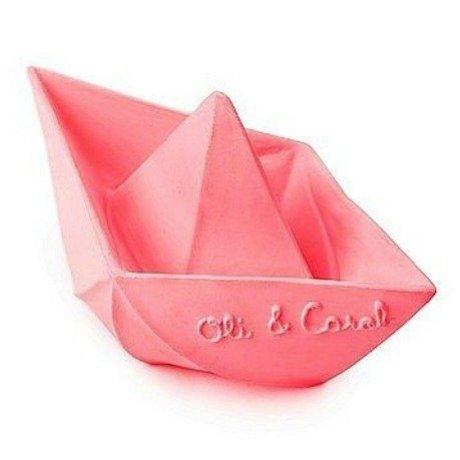 Oli & Carol Badspeeltje bootje roze natuurlijk rubber 12x7cm