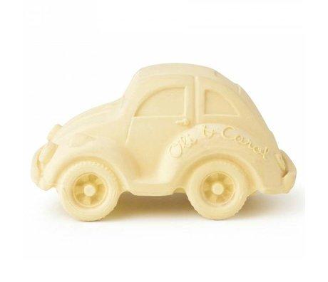 Oli & Carol Badspeeltje auto kever vanille geel natuurlijk rubber 6x10cm