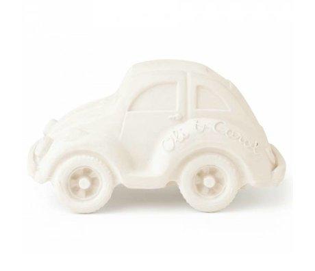 Oli & Carol Badspeeltje auto kever wit natuurlijk rubber 6x10cm