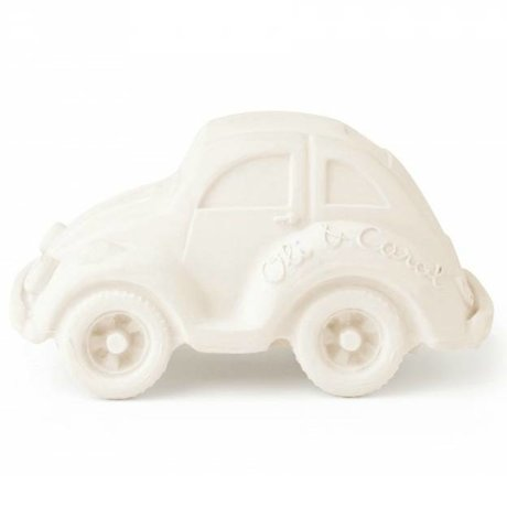 Oli & Carol Bath toy car beetle white natural rubber 6x10cm
