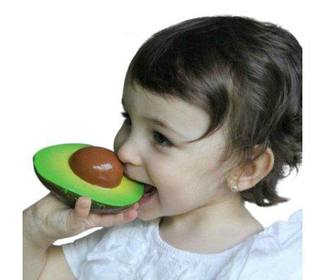 Oli & Carol Badspeeltje en bijtspeeltje  avocado Arnold groen bruin natuurlijk rubber8x10cm