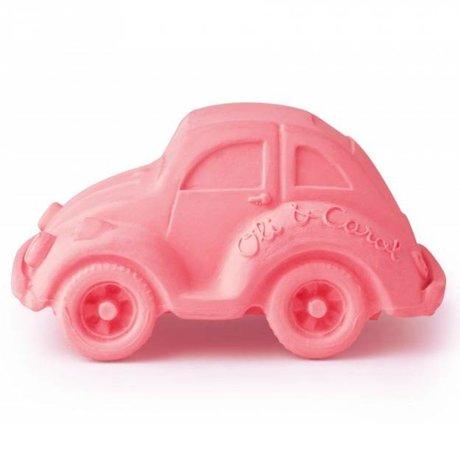 Oli & Carol Badspeeltje auto kever roze natuurlijk rubber 6x10cm