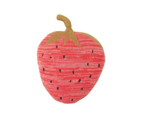 Ferm Living kids Hug Fruiticana Strawberry pink cotton 31x23cm