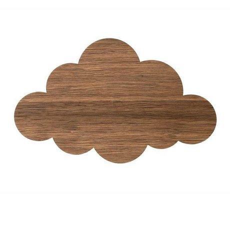 Ferm Living kids Kinderwandlamp cloud bruin hout 40x25cm