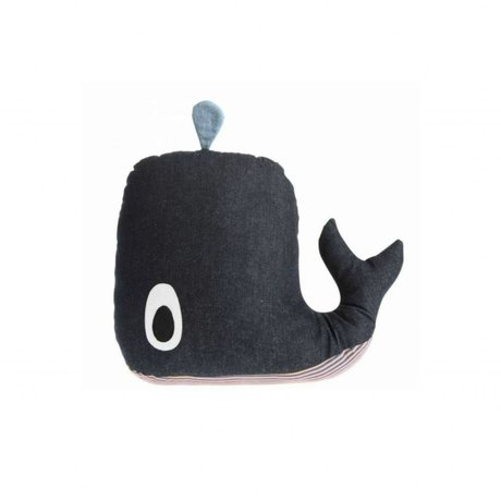 Ferm Living kids Mobile music with blue denim cotton 16x12cm, Whale Music Mobile
