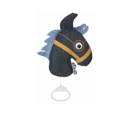 Ferm Living kids Mobile music with blue cotton 17x20cm, Music Mobile Horse