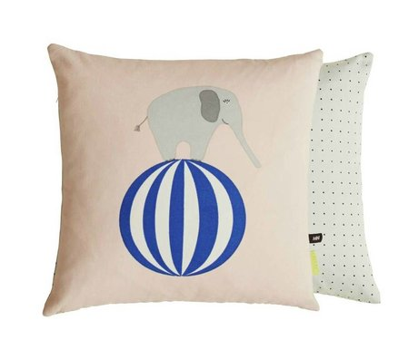OYOY Children's Pillow Elephant on ball-sided pink gray cotton 40x40cm