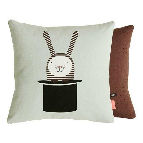 OYOY Children's Pillow Rabbit in hat sided mingroen brown 40x40 cm