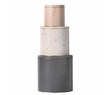 Ferm Living kids Opbergdozen Tin roze wit grijs metaal set van 3
