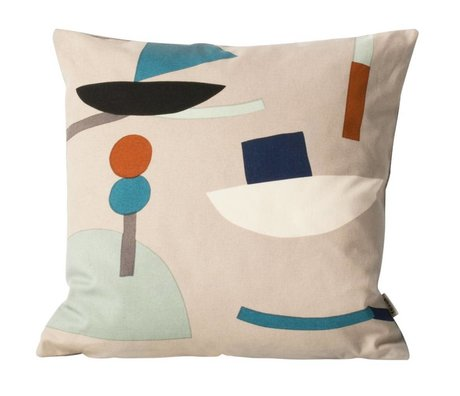 Ferm Living kids Children's pillow Seaside beige brown textile 40x40cm