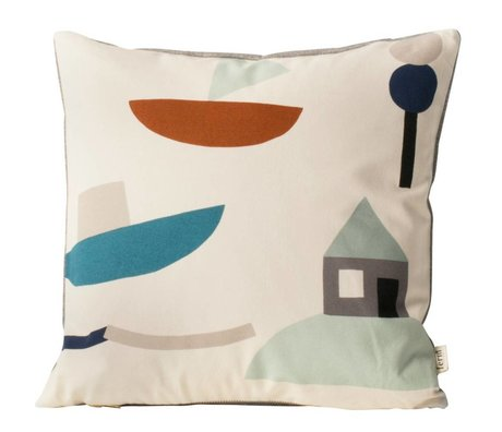 Ferm Living kids Seaside Cushion off-white fabric 40x40cm