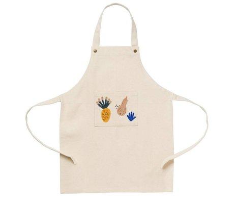 Ferm Living kids Kinder keukenschort Fruiticana wit organisch katoen 45x56cm