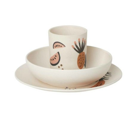 Ferm Living kids Kinderservies Fruiticana bamboe set van 3
