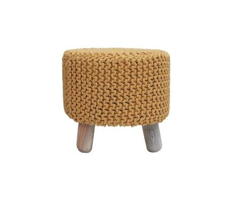 LEF collections Children's stool Kota yellow cotton wood 40x40cm