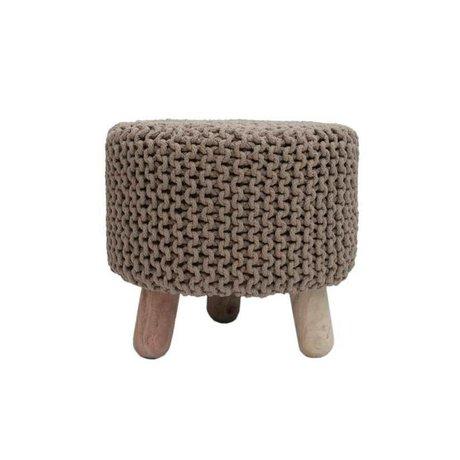 LEF collections Children's stool Kota beige cotton wood 40x40cm