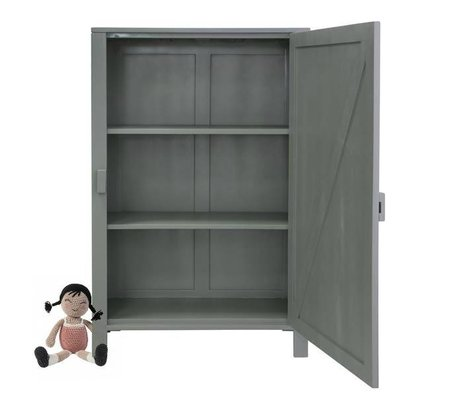 HK-living Children cabinet with single door wood army green 81x36x122cm