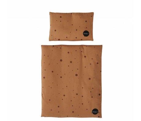 OYOY Beddengoed voor poppenbedje Dot caramel bruin katoen 34x42 / 16x24cm