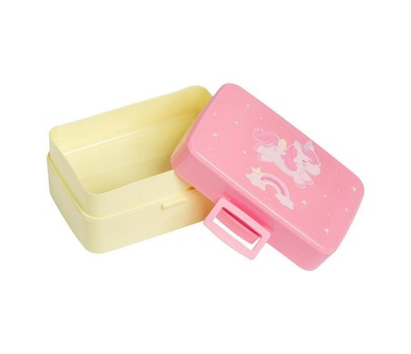 A Little Lovely Company Lunchbox unicorn pink yellow plastic 15,5x8x11,5cm