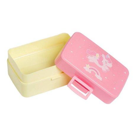A Little Lovely Company Lunchbox unicorn roze geel kunststof 15,5x8x11,5cm
