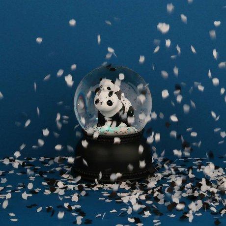 A Little Lovely Company Sneeuwbol panda met licht zwart wit acryl 11x14,5x11cm