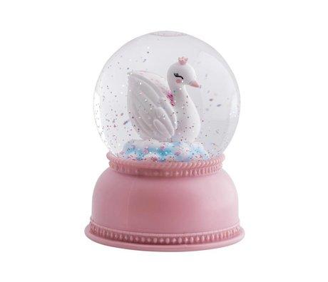 A Little Lovely Company Snowglobe light Swan pink acrylic 11x14,5x11cm