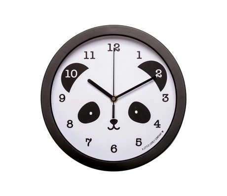 A Little Lovely Company Clock Panda children's room black white plastic ø25x4,2cm