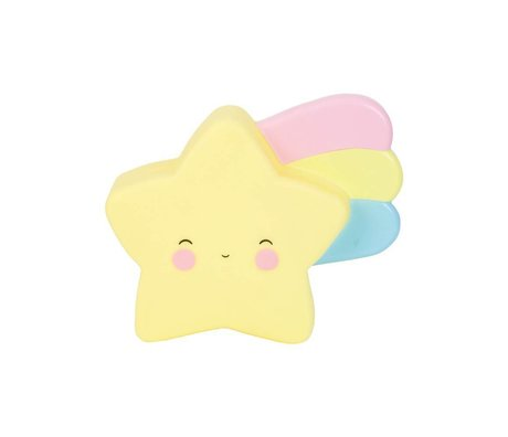 A Little Lovely Company Kinder spaarpot Shooting star geel PVC 17,5x15x6cm