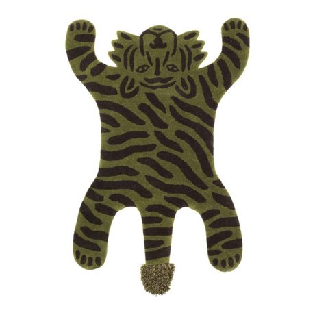 Ferm Living kids Childrens rug Safari TIGER green cotton wool 160x118x2cm