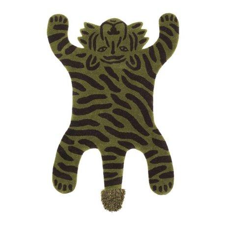 Ferm Living kids Kindervloerkleed Safari TIGER groen katoen wol 160x118x2cm