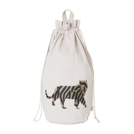 Ferm Living kids Children's storage bag Safari Tiger cotton canvas 24x50cm