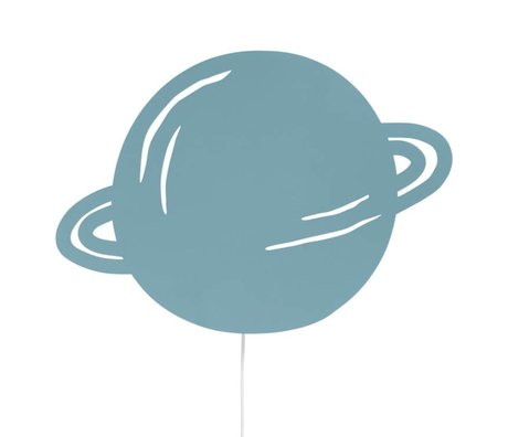 Ferm Living kids Wandlamp Planet dusty blauw eikenhout 39x28cm
