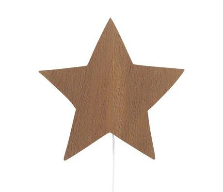 Ferm Living kids Wandlamp Star bruin eikenhout 33x29,8x6,5cm
