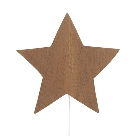 Ferm Living kids Wall lamp Star brown oak 33x29,8x6,5cm