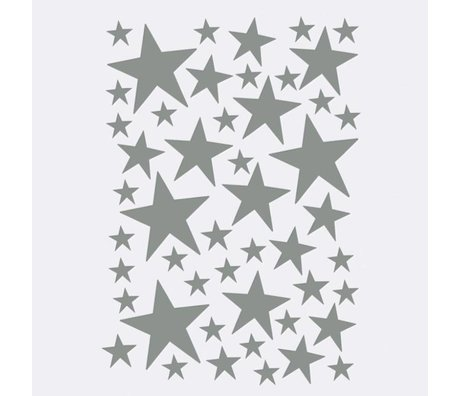 Ferm Living kids Wall sticker Mini Stars gray 49 pieces