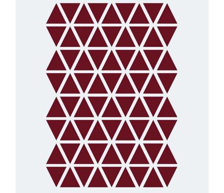 Ferm Living kids Wall sticker Mini Triangles red 72 pieces