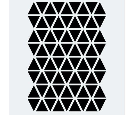 Muursticker Mini Triangles zwart 72 stuks