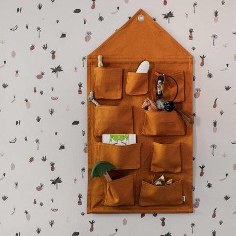 Ferm Living kids Kinderopbergzak House mustard katoen 50x98cm