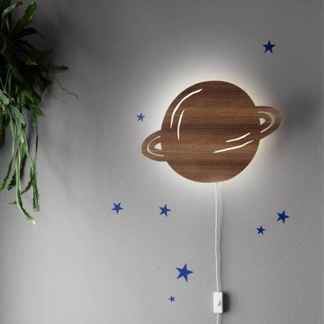 Ferm Living kids Wandlamp Planet bruin eikenhout 39x28cm