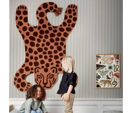Ferm Living kids Kindervloerkleed Safari LEOPARD bruin katoen wol 160x118x2cm