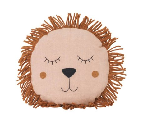 Ferm Living kids Children's pillow Safari Lion pink linen wool 35cm