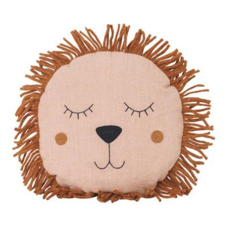 Ferm Living kids Kinderkussen Safari Lion roze linnen wol 35cm