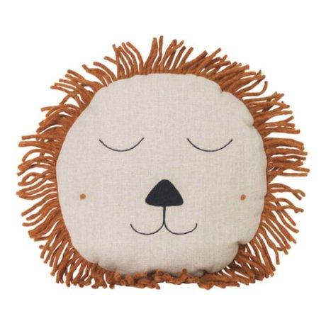 Ferm Living kids Kinderkussen Safari Lion naturel linnen wol 35cm