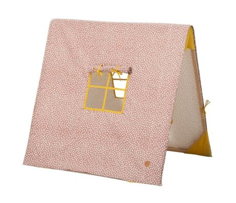 Ferm Living kids Kindertent inklapbaar Dots roze katoen/hout 100x100xcm