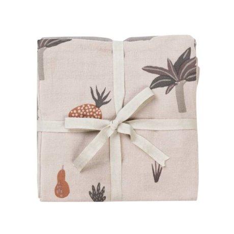 Ferm Living kids Hydrofiele doek Fruiticana katoen 70x70cm set van 3 stuks