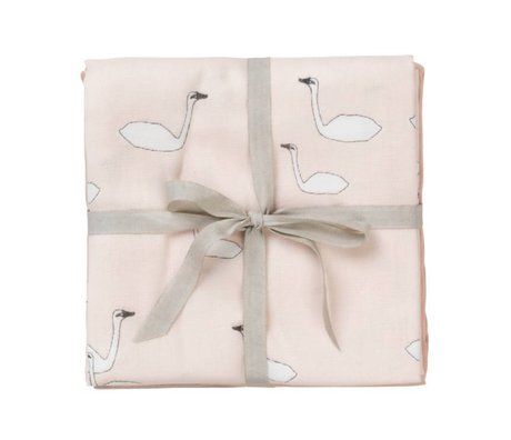 Ferm Living kids Hydrophilic cloth Muslin squares Swan pink cotton 70x70cm set of 3 pieces