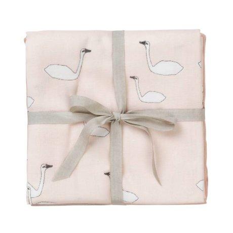 Ferm Living kids Hydrofiele doek Muslin squares Swan roze katoen 70x70cm set van 3 stuks