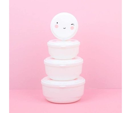 A Little Lovely Company Snackbox Happy Face white set of 4