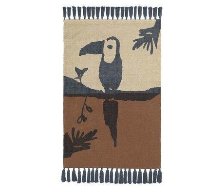 NOFRED Kinder vloerkleed Toucan bruin katoen 100x150cm